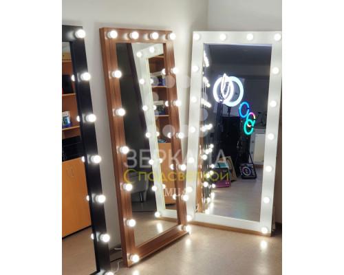 Гримерное зеркало с подсветкой орех 175х80